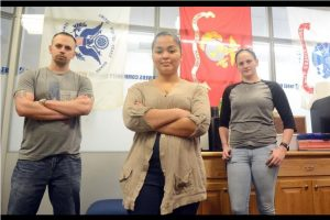 Photos of Student and Veterans at Three Rivers Community College Veterans Oasis Center