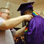 Phil Meyer and student at lavender graduation