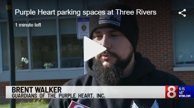 Brent Walker speaks about Purple Heart Parking Spot Dedication