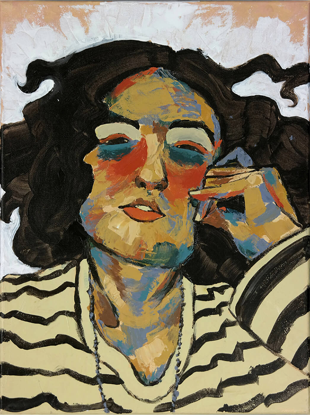 "Selina Benitez, ""Dear Mr. Schiele,"" acrylic on canvas, 16"" x 12"""