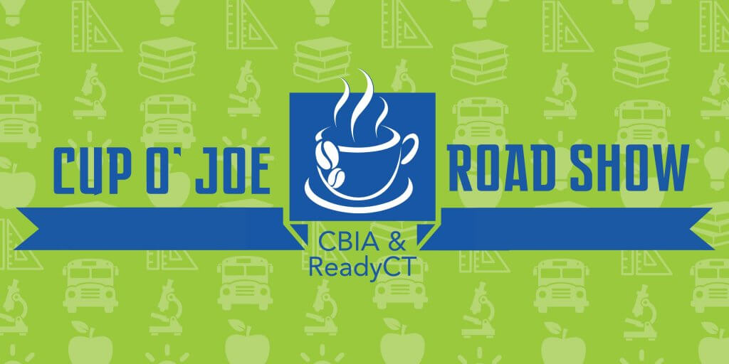 Cup of Joe Road Show logo by CBIA at Three Rivers