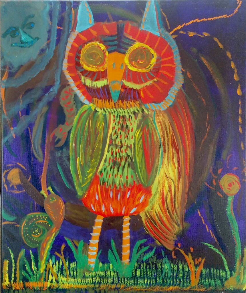 "John Witherly, ""Interesting Owl"", acrylic on canvas"