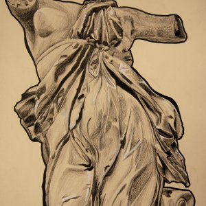 "David Fontaine, ""Statue Study"", Prisma color on toned paper, 20"" x 30"""