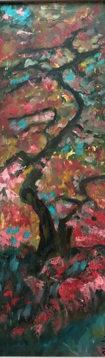 "Hoda Awad, ""Red Tree"", ​Oil on wood, 21"" x 9""​"