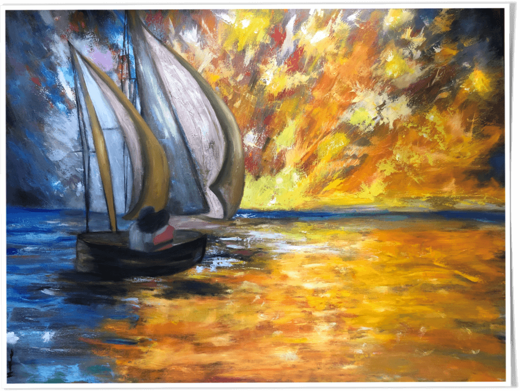 "Hoda Awad, ""Sunset Sail"",​ Oil on canvas, 40"" x 30""​"