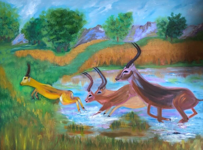 "Hoda Awad, Gazelles​, Oil on canvas, 36"" x 48""​"