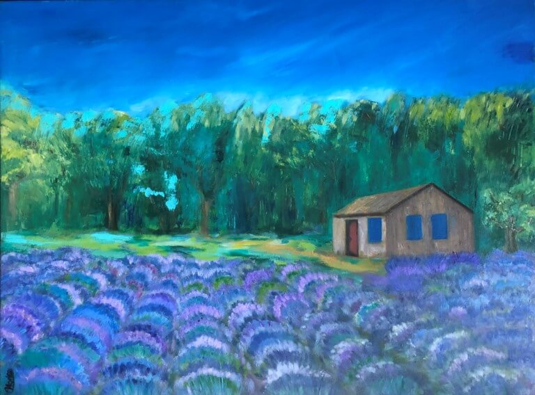 "Hoda Awad, ""Lavender Field""​, Oil on wood, 40"" x 30""​"
