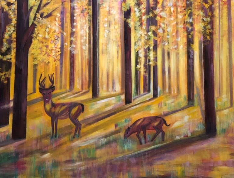 "Hoda Awad, ""Golden Forest""​, Acrylic on canvas, 40"" x 30""​"