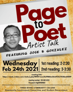 Page to Poet Artist Talk featuring Jose Gonzalez, Feb 24, 2021