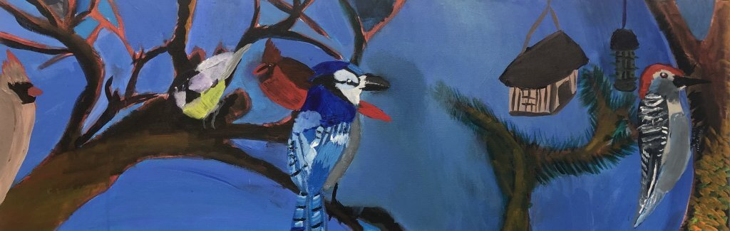 "John Witherly II, ""Backyard Birding,"" Acrylic on Canvas, 12"" x 36"""