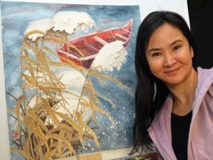 Zhai Yujuan with her latest watercolor.