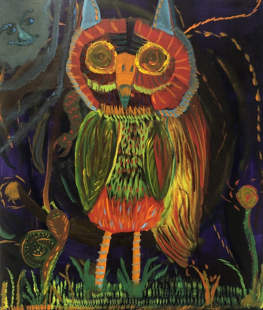 "John Witherly II, ""Owl in Wonderland,"" Acrylic on Canvas, 20"" x 24"""